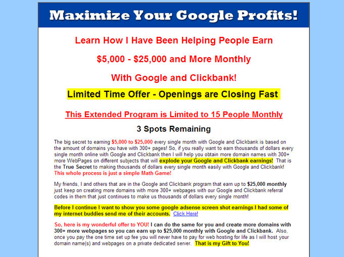 Google online money making scams