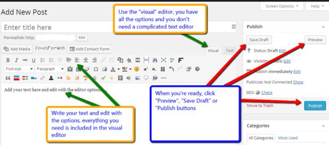 Using WordPress text editor
