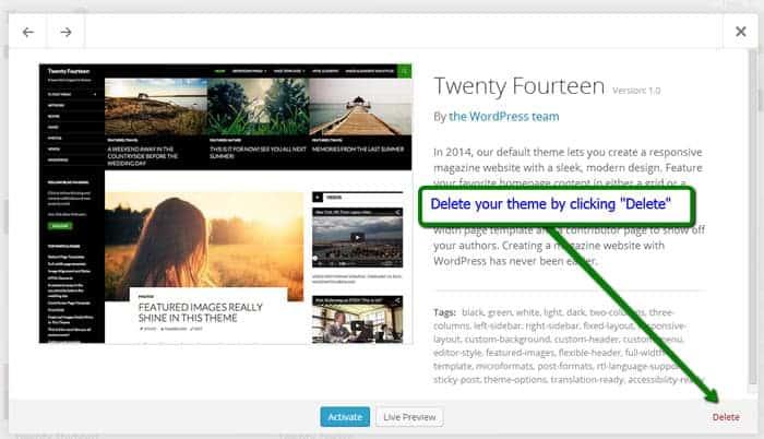 Deleting a WordPress theme