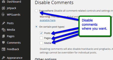 Disable WordPress Comments in posts
