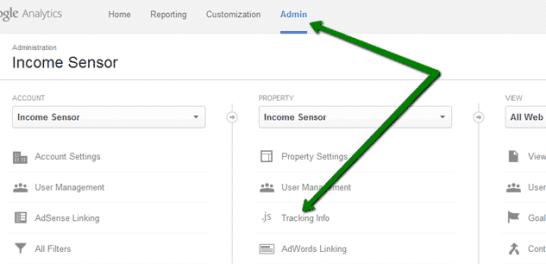 Google Analytics admin area