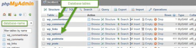 phpMyAdmin tables