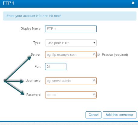 FTP login details