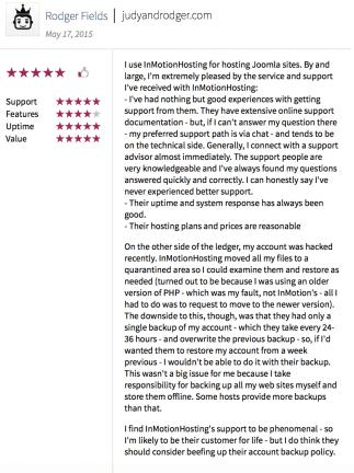 InMotion customer reviews