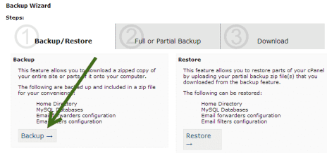 create a database backup