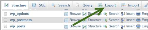 export MySQL database from phpMyAdmin