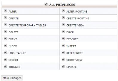Edit MySQL User Privileges