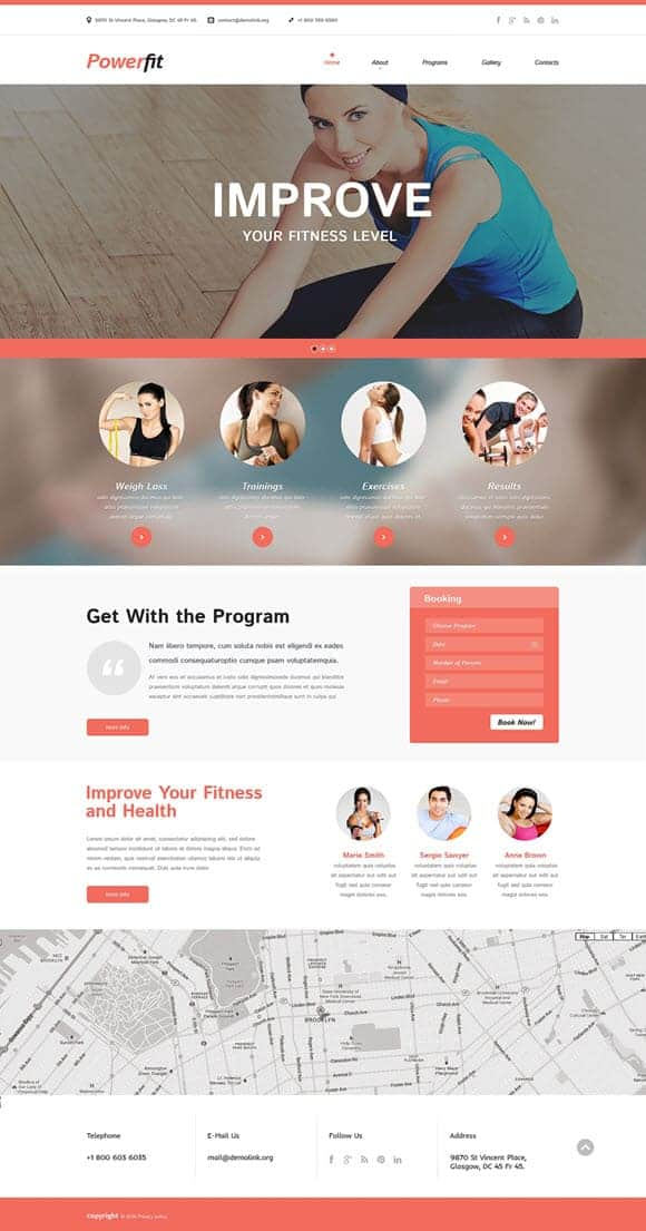 Fitness website Templates