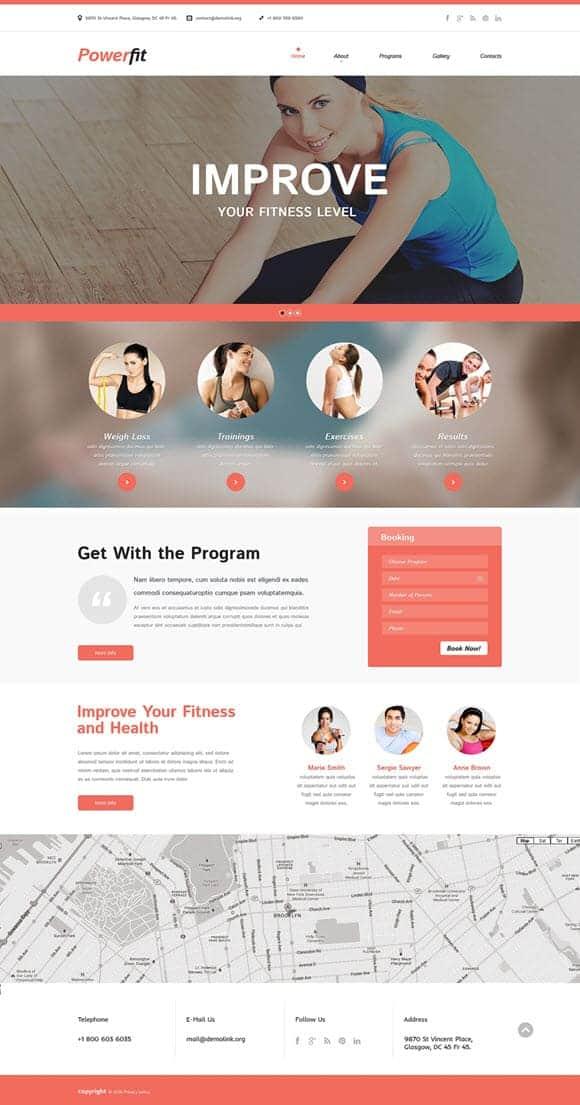 Fitness website Templates
