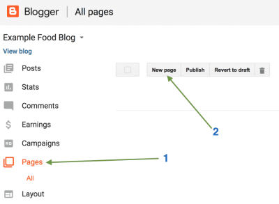 Creating the first page on Blogger