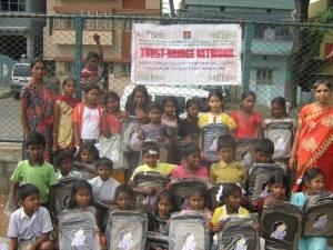Donation of School Bags to Children of Bangalore Urban Slums, Jayanagar