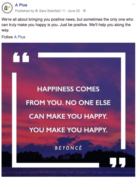 A Plus your happiness