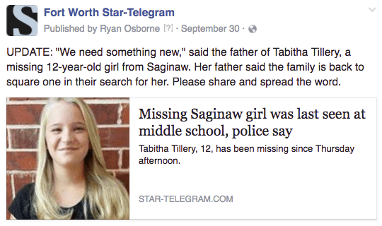 FW missing girl
