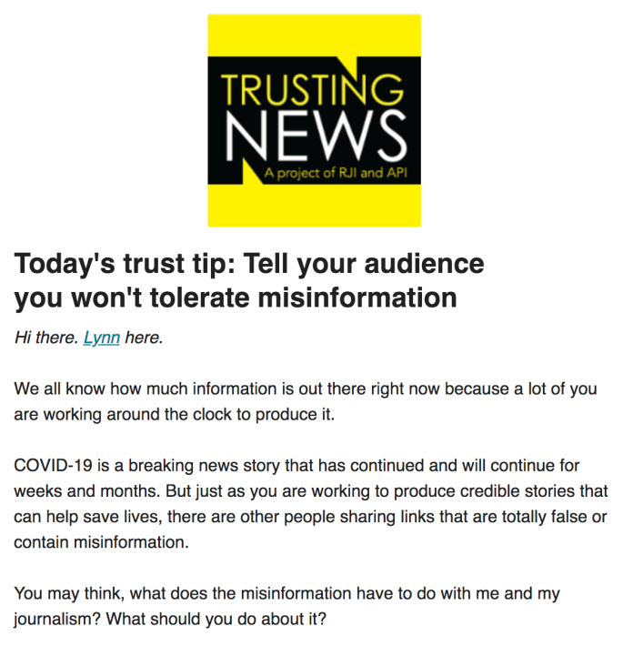 Comments Trusting News
