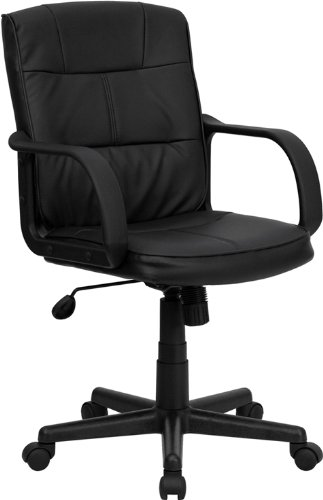 6. Mid-Back Black Leather Swivel Task Chair with Nylon Arms