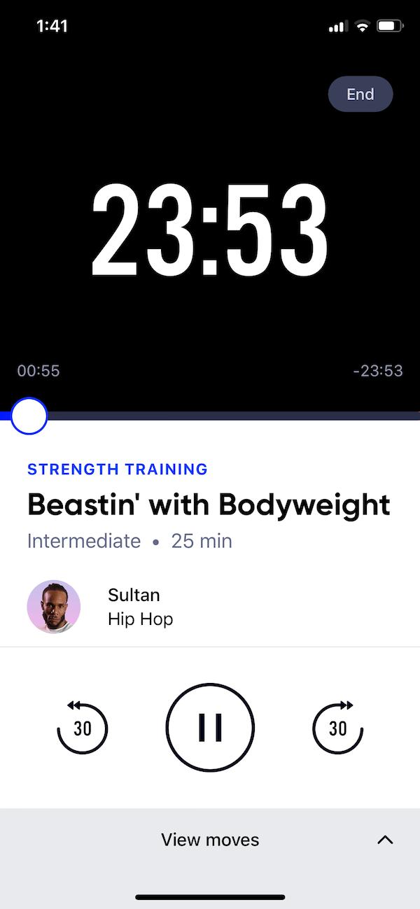 Aaptiv workout screen