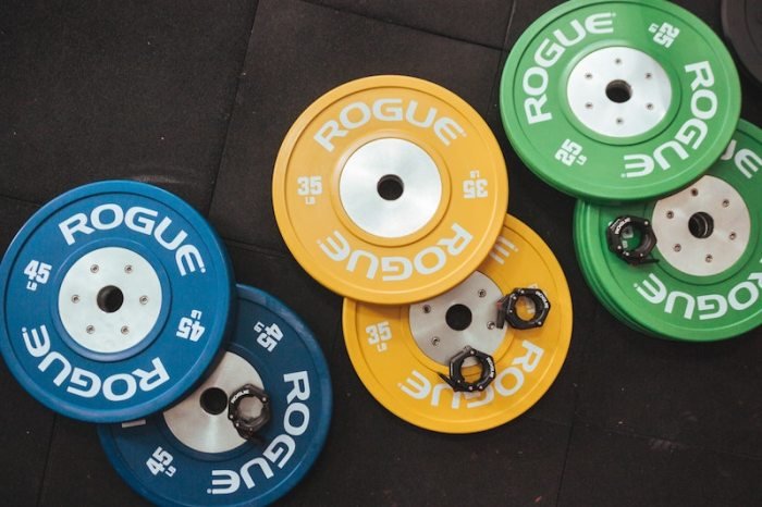 Olympic plates laying on an exercise mat