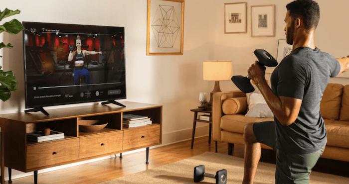 Peloton app on living room TV