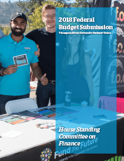 2018 Federal Budget Submission