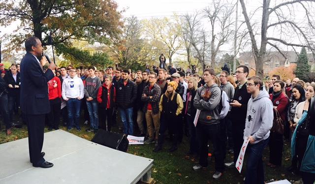 Ben Carson speaks to students at Iowa State University. (Instagram)