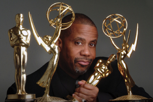 Russell Williams II with his two Oscars and two Emmy Awards. (Photo: Tom Radcliffe)