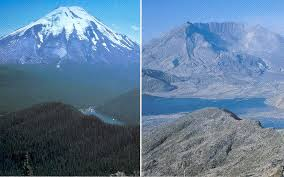 Mt. St. Helens before and after