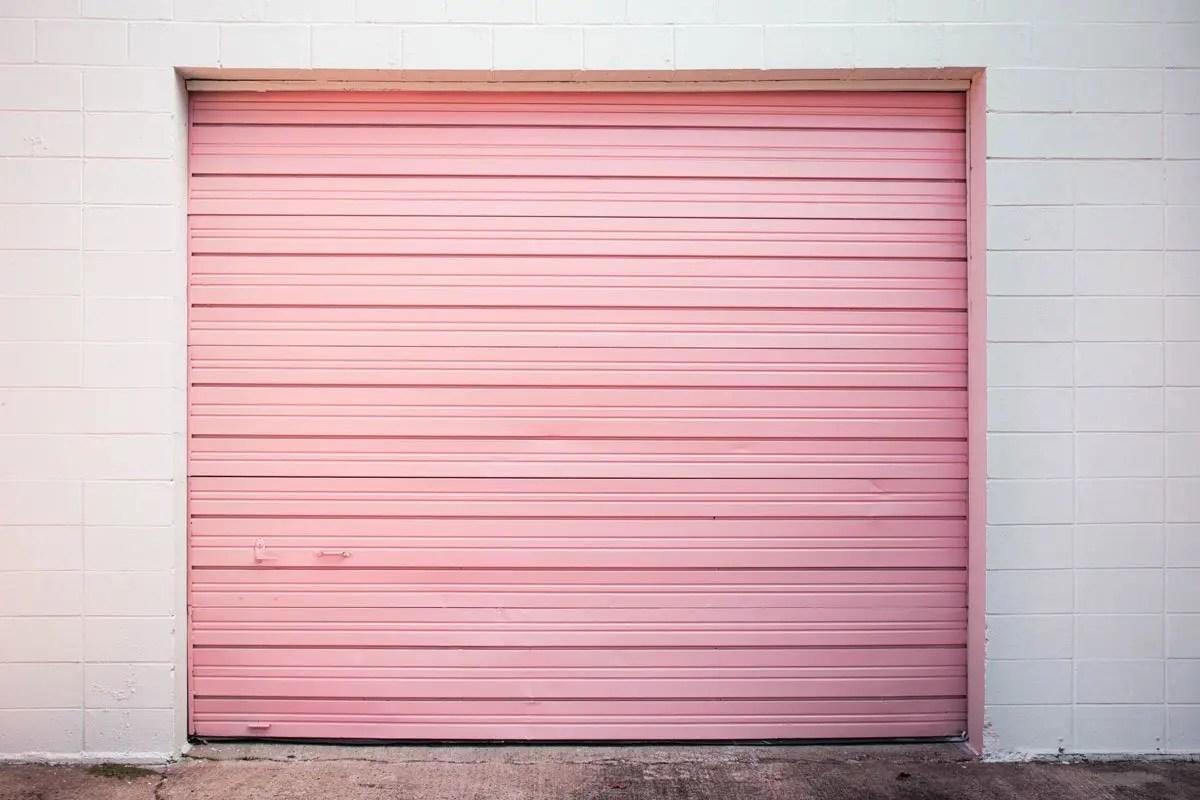 a pink garage door