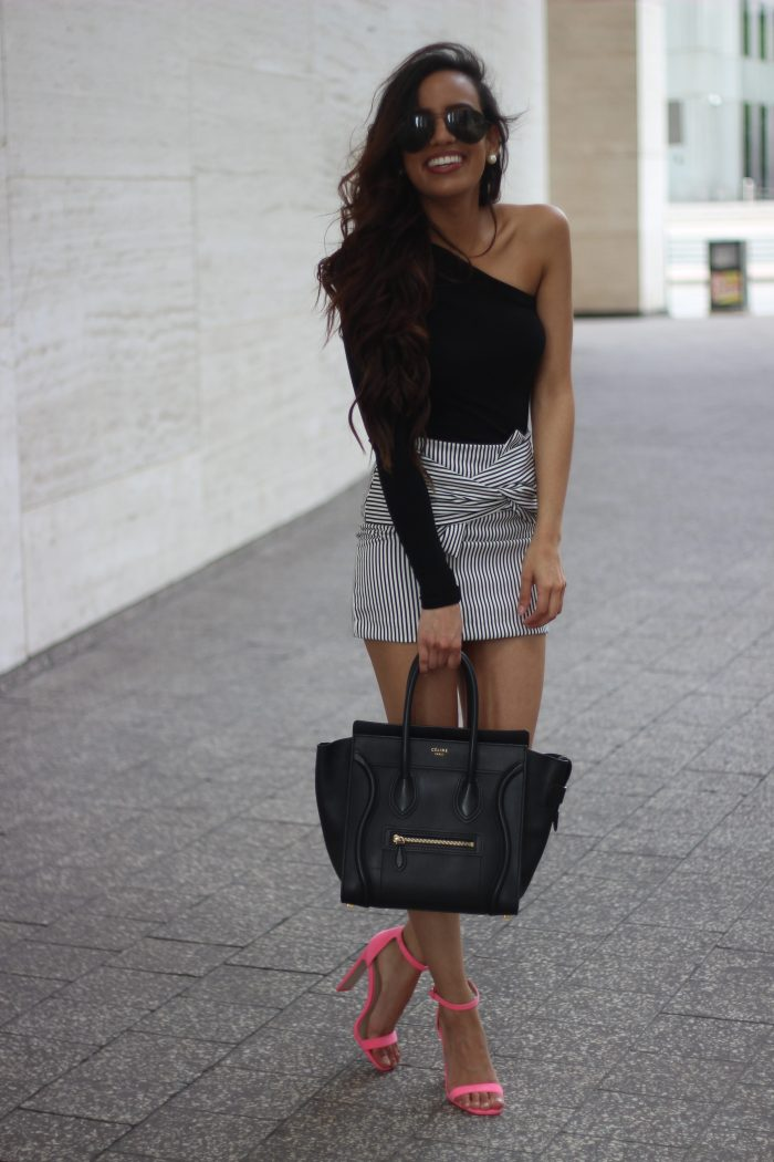 Black Outfit with Pink Pop of Color