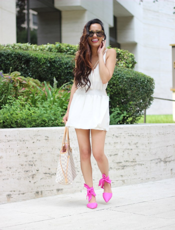 Beige cami and flowy skirt outfit