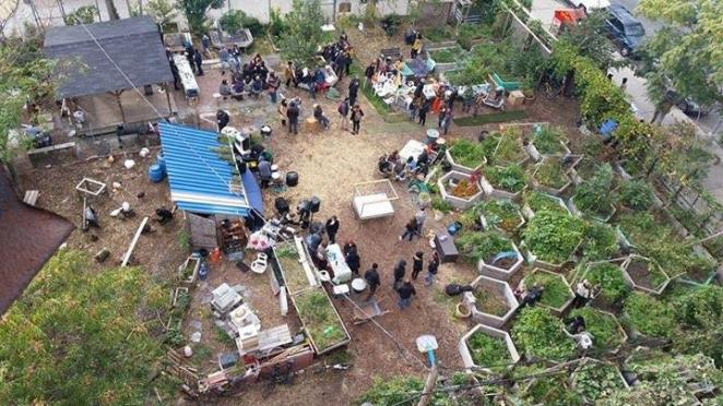 Community gathers near vegetable beds at Bushwick City Farm in 2015.