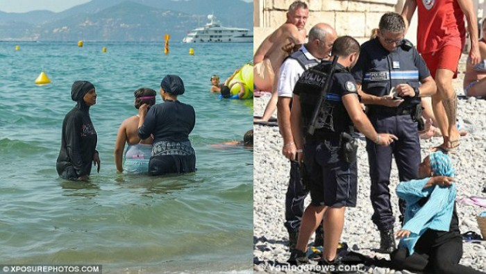 Get 'Em off! Armed police Order Muslim Woman To Remove 'Burkini' On Beach (Video)