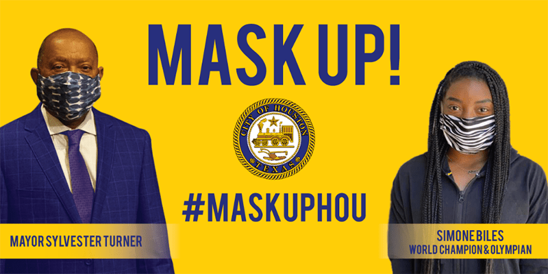 Mayor Sylvester Turner and Simone Biles promote the Mask Up! Houston campaign
