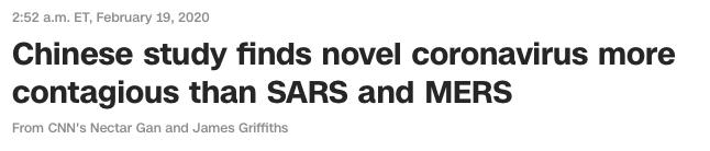 Coronavirus more contagious than SARS and MERS
