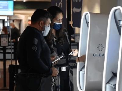 Clear biometric kiosk at Sacramento International Airport
