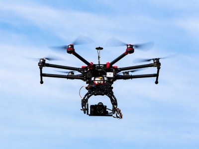 Drone surveilling the skies