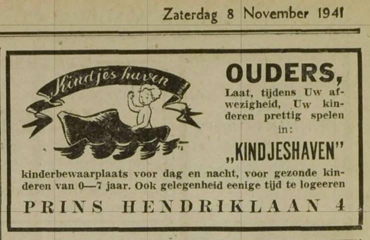 Een advertentie uit 8 nov 1941