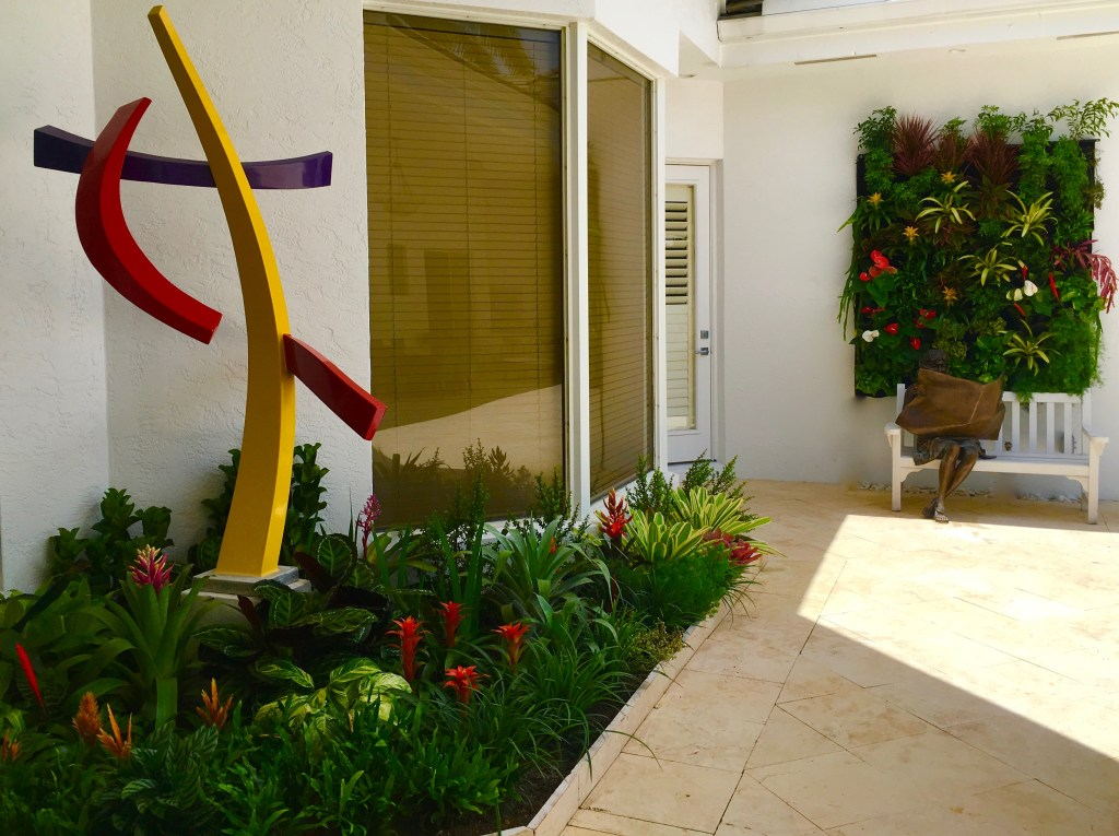 Best green wall Miami Florida / Merger of art and Biophilic design / Biophillia principles By Biophilic designer Jeffrey Allis In Miami Florida