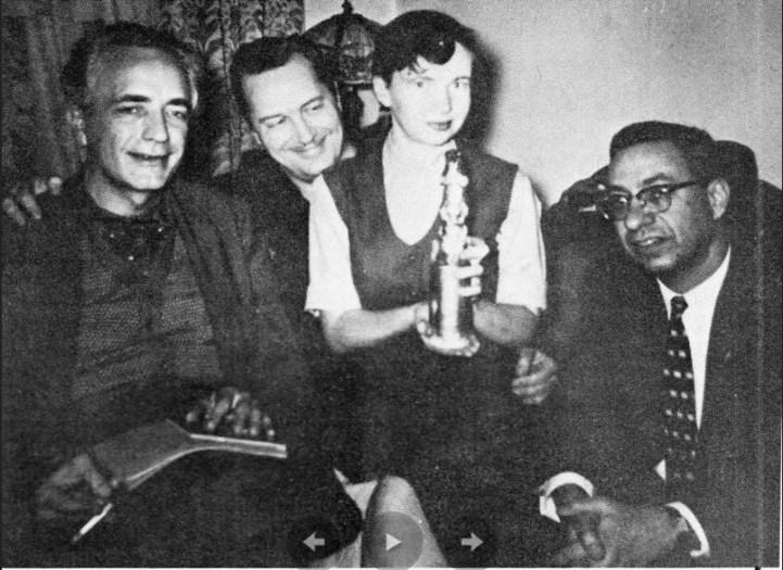 Слева направо: Фриц Лейбер, Форрест Аккерман, Биджо Тримбл и Дональд Уоллхейм, 1960 год