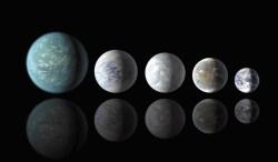 Сравнительные размеры самых маленьких суперземель в зоне обитаемости. Слева направо: Kepler 22b, Kepler 69c, Kepler 62e, Kepler 62F и Земля