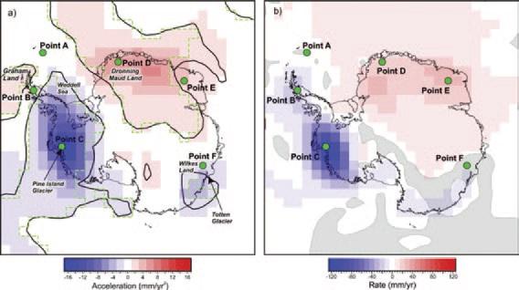Динамика изменения ледового покрытия в Антарктиде с марта 2003 года по июль 2012 года. На рисунке (а) показано ускорение, а на рисунке (б) — скорость.  Зелеными точками отмечены участки детального рассмотрения в оригинальной статье [1]. синие цвета означают потерю льда, а красные — накопление