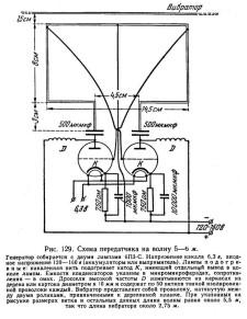 самодельный радиопередатчик для демонстрационных экспериментов с электромагнитными волнами (иллюстрация, исключенная из 10-го издания в связи с распространением в школах генераторов и детекторов трехсантиметровых волн промышленного производства)