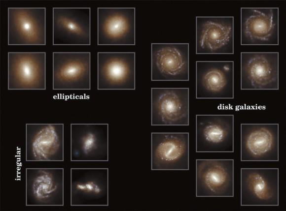 Различные типы современных нам галактик по данным моделирования Illustris (www.illustris-Project.org/media)