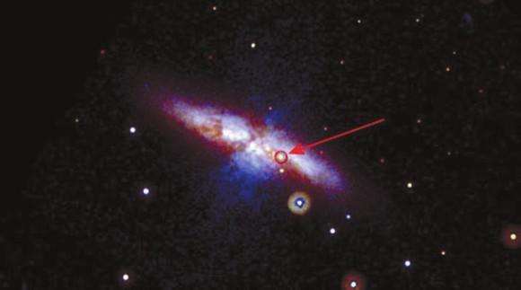 Сверхновая 2014J в галактике M82 (фото: NASA/Swift/P. Brown, TAMU)