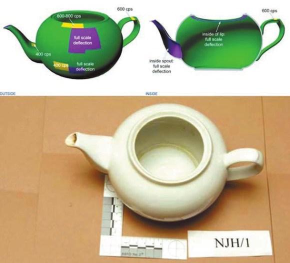 Рис. 3. 3d-графика Metropolitan Police Лондона, характеризующая загрязнение в чайнике, из которого был отравлен Литвиненко. От зеленого (низкий) до фиолетового (высокий). С сайта www.litvinenkoinquiry.org
