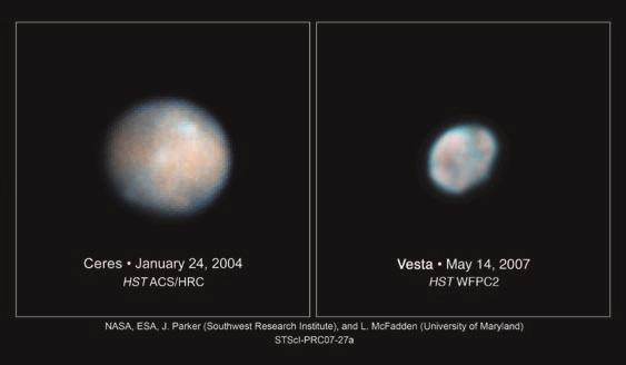 Церера и Веста, снятые телескопом Hubble