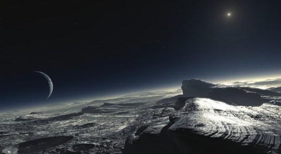 Вид поверхности Плутона в представлении художника. Изображение показывает атмосферную дымку, а также участки с чистым метаном на поверхности. В правом верхнем углу — Солнце, которое в 1000 Раз слабее той яркости, которую мы видим на Земле. Фото ESO