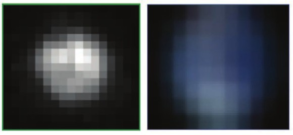 О том, как мало мы видим на Плутоне с помощью лучших телескопов, можно судить по этой картинке. Слева — снимок карликовой планеты от космического телескопа «Хаббл», справа — изображение Земли в таком же разрешении.  Фото А. Штерн