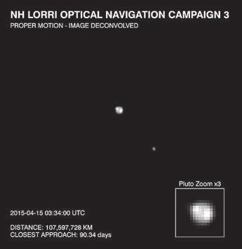На снимке камеры LORRI аппарата «Новые горизонты», который был получен 15 апреля,  видны некоторые детали альбедо на Плутоне