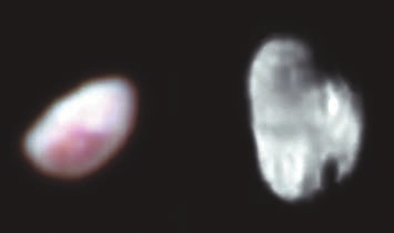 Никта и Гидра — малые спутники Плутона. На Никте видно большое красное пятно (цвета усилены), а на Гидре различимы ударные кратеры