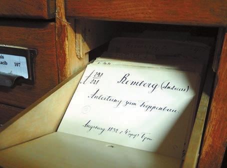 Карточки XIX века,  хранящиеся в генеральном алфавитном каталоге
